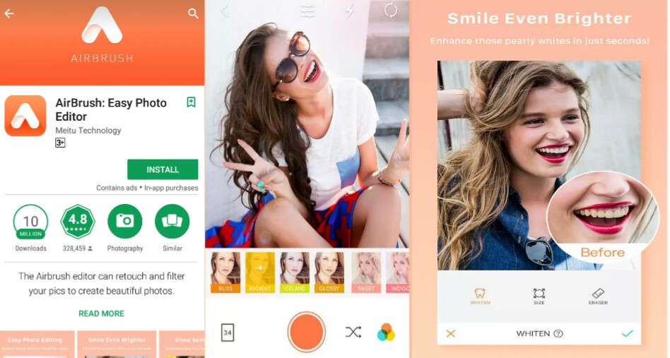 Airbrush best mobile photos editing app